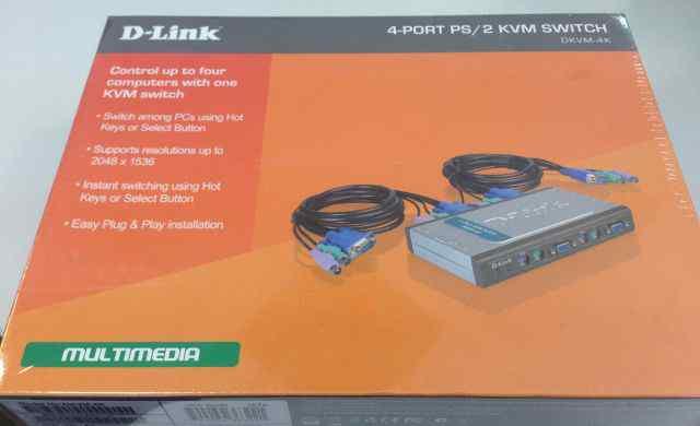 D-Link dkvm-4K новый переключатель на 4 компьютера
