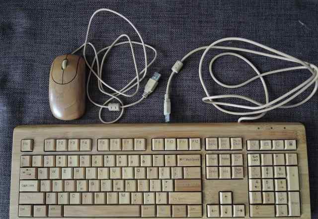 Комплект из бамбука клавиатура и мышь