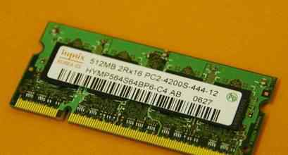 SO-dimm PC2-4200 DDR2 444/533 MHz 256/512mb