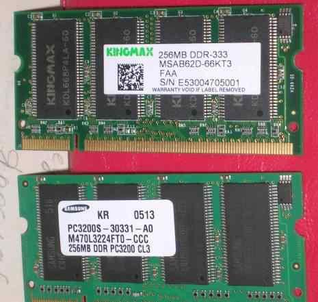 Ноутбучная память So-Dimm 512Мб DDR1(333мгц)