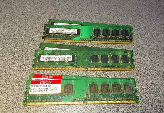Память DDR2 2x512Mb