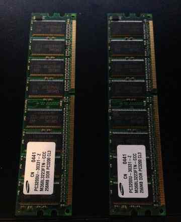 2 Модуля памяти samsung pc3200u-30331-z 256mb ddr