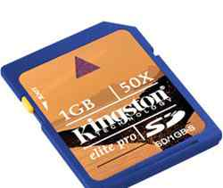 Карта памяти Kingston SD Card 1Gb Elite Pro, 50x