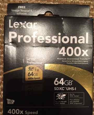 Карта памяти lexar sdxc 64GB UHS-I 400X