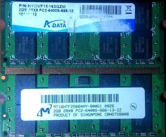 Оперативная память для ноутбука 2GB DDR2