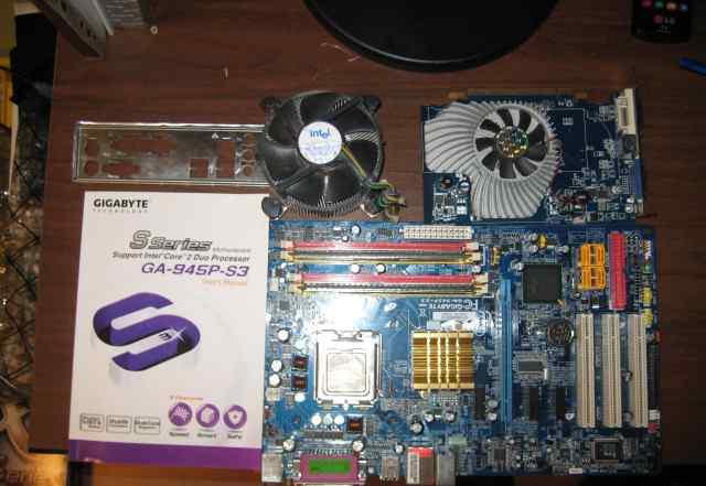 Мат. плата Gigabyte GA-945P проц память видео