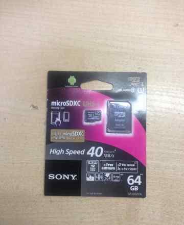 Карта памяти micro sd Sony 64 gb