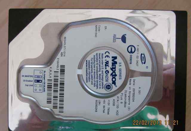 Жесткий диск ATA/133 HDD 40GB maxtor