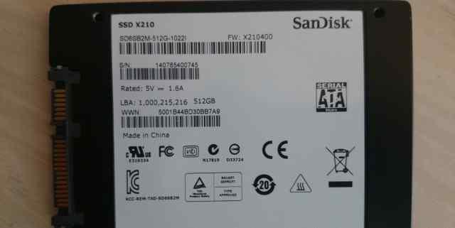 SSD жесткий диск Sandisk x210 512Гб