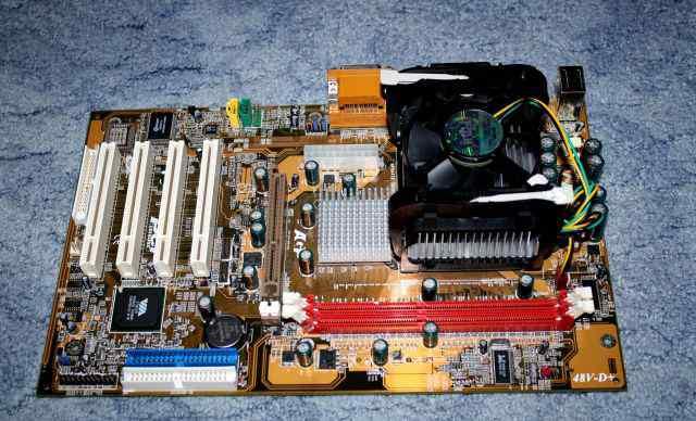 Материнская плата Socket 478 с процессором 2Ghz
