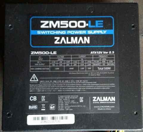 Блок питания Zalman ZM500-LE (Black ) 500W ATX