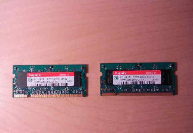 Оперативная память SO-dimm DDR2 512 MB, 2 планки