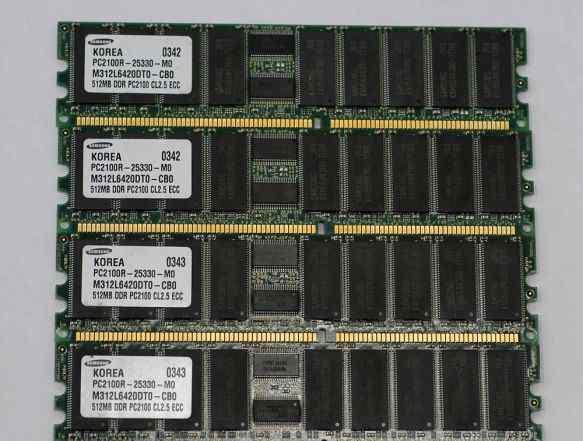 DDR PC2100R ECC 512Mb x 4 шт Samsung