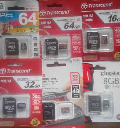 MicroSD и SD до 128 Гб, картридеры, флэшки (новые)