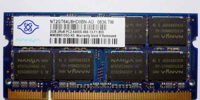2 планки, Nanya 2Gb 2RX8 PC2-6400S-666-13-F1