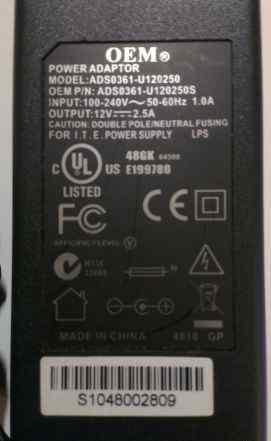 Блок питания Адаптер ADS0361-U120250 12V