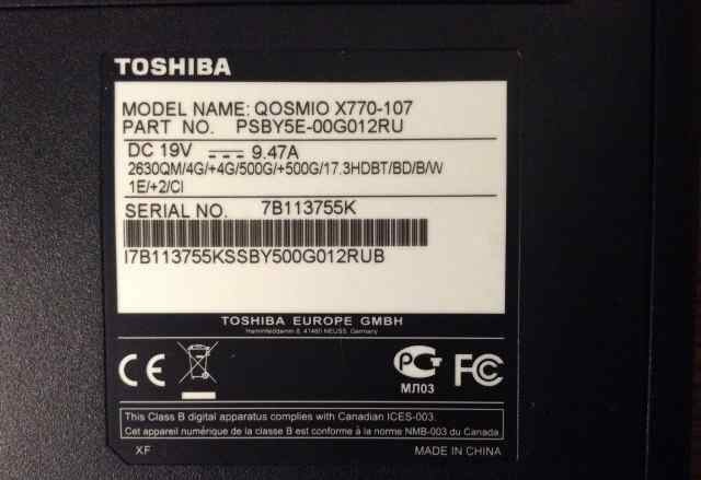Toshiba qosmio x770-107