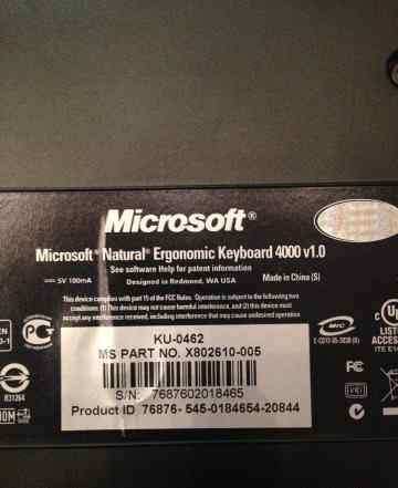 Microsoft Natural Ergonomic Keyboard 4000 Black US