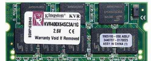 Память Kingston 400mhz PC3200 so-dimm DDR 1gb