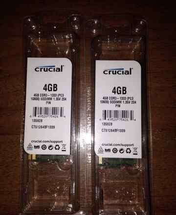 2 модуля Crucial 4 Gb DDR3-1333
