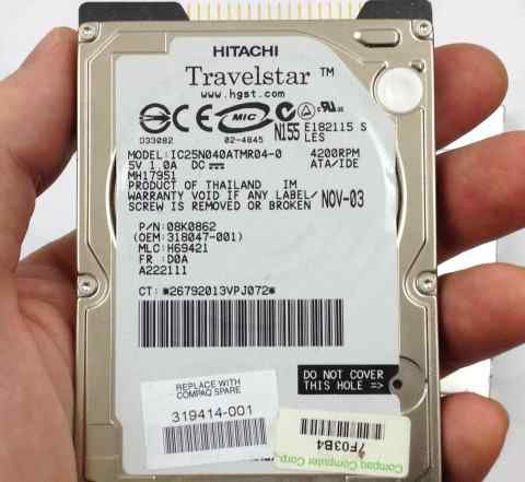 Ноутбучный Hitachi Travelstar 40GB
