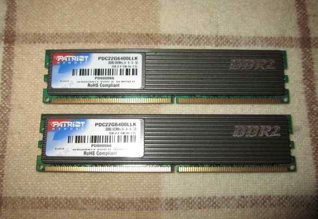 DDR2 800Mhz 2Gb (2 x1 Gb) Patriot PDC22G6400LLK