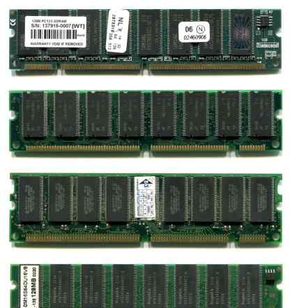 Память sdram PC133 128 Mb, 4 модуля