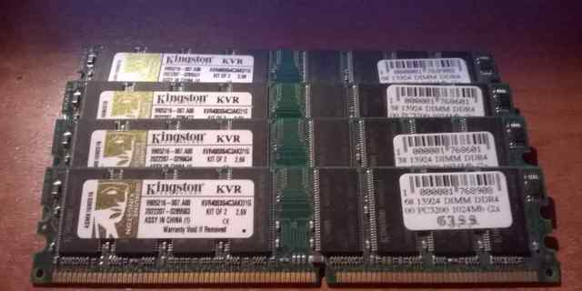 4 планки Kingston KVR400X64C3AK4/1G 1Gb DDR4