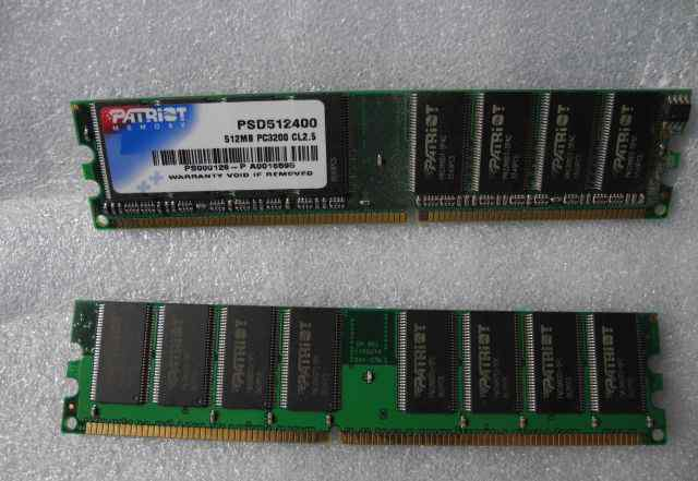 DDR 512 Mb PC3200 Patriot (2 шт 1 GB)