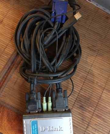 KVM-переключатель VGA dlink KVM-221 на 2 блока