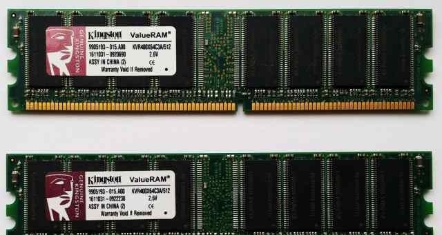 Озу DDR dimm Kingston KVR400X64C3A/512 2х512Mb