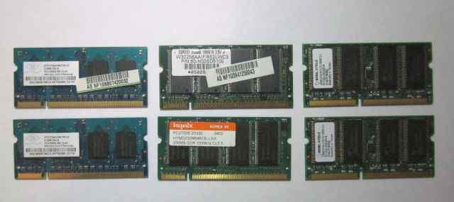 Память для ноутбуков SO dimm, DDR, DDR2