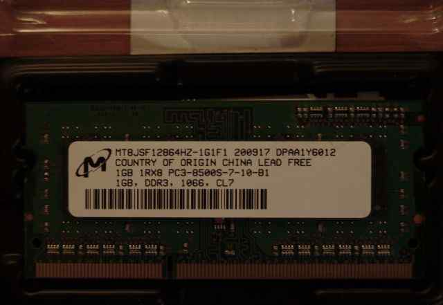 Память 1GB sodimm DDR3-1066 на лаптоп / ноутбук