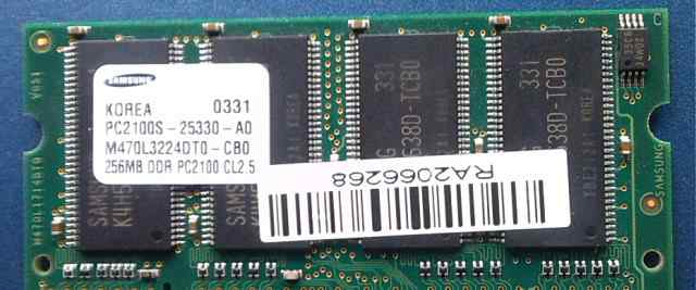 Память Samsung 256Mb DDR266 PC2100 SO-dimm для ноу
