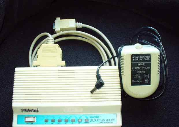 Факс-модем US Robotics 28800, адаптер и кабель