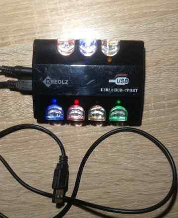 7-портовый USB концентратор с блоком питания