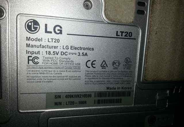 Ноутбук LG lt 20 рабочий и исправный