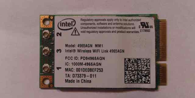 Карта Wi-Fi для ноутбука Intel 4965AGN
