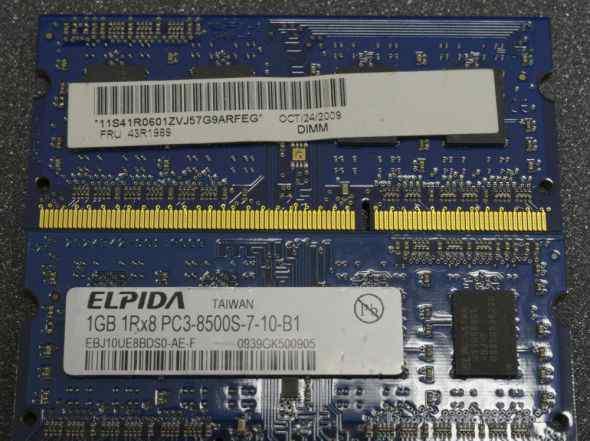 DDR3 sodimm 1GB, 1Rx8 PC3-8500S-7-10-B1