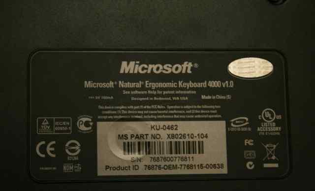 Клавиатура Microsoft Ergonomic 4000 черная