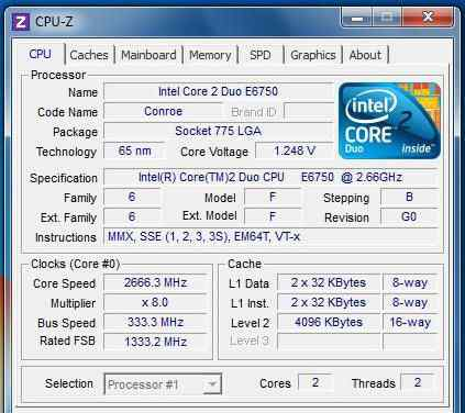 Intel Core 2 Duo E6750 (2.66GHz, 4Mb, 1333MHz)