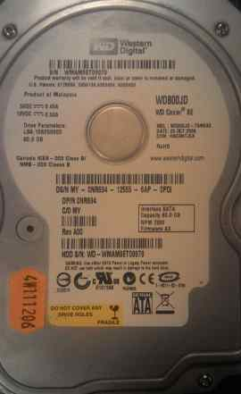 Жесткий диск 80Gb Western Digital WD800JD