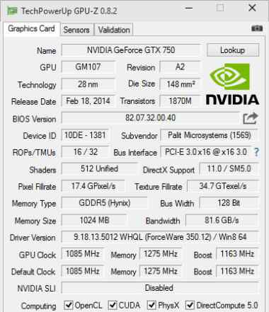 Palit Geforce GTX750 StormX OC 1Gb