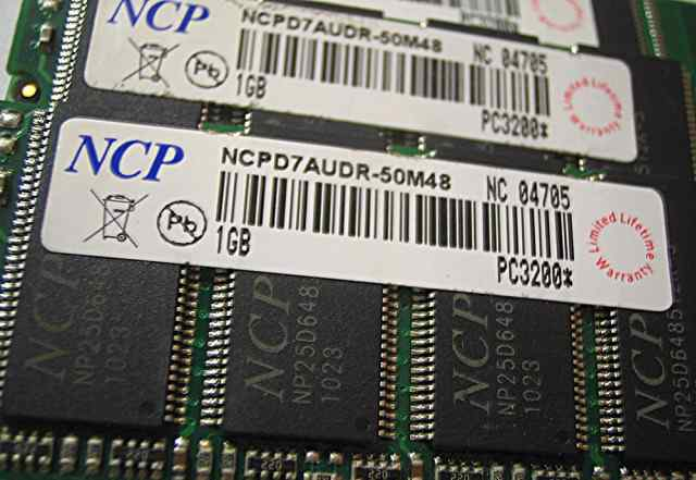 Оперативная память PC3200 NCP ncpd7audr-50M48 1Gb