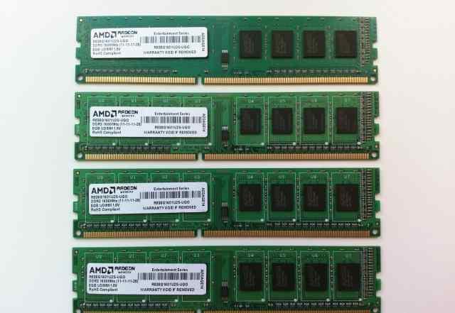 Оперативная память AMD DDR3 1600MHz 4 x 8gb 32gb