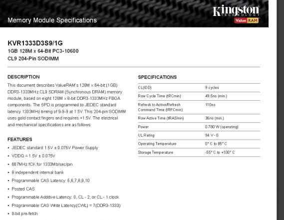 Оперативная память для ноутбука SO dimm DDR3 1Gb