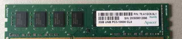 Apacer 2 GB UNB PC3-10600 CL9 DDR3/1333 мгц