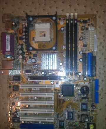 Плата Asus P4PE с процессором и кулером