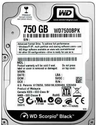 Western Digital WD7500bpkx SATA 2.5 750GB