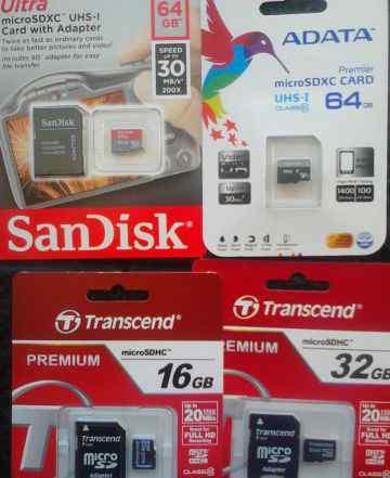 Новые Карты microSD-SD, флэшки /возможна доставка